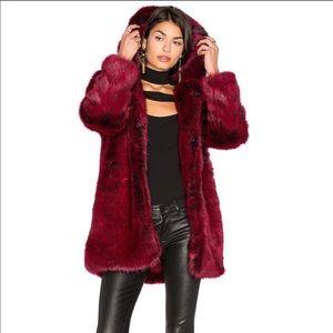 LPA faux fur blood red coat